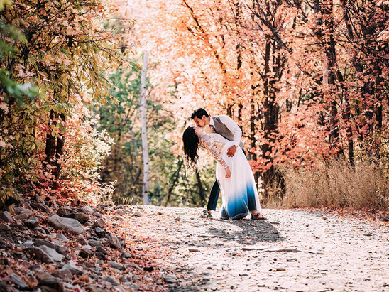 Fall Big Springs Park Bride and Groom Session with Maggie & Dan
