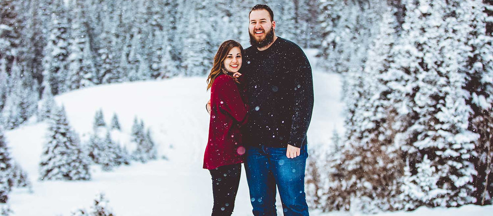 Winter Jordan Pines Snowy Engagement with Jess & Austin
