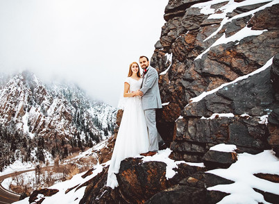 Winter Jordan Pines Campground Bride & Groom Session