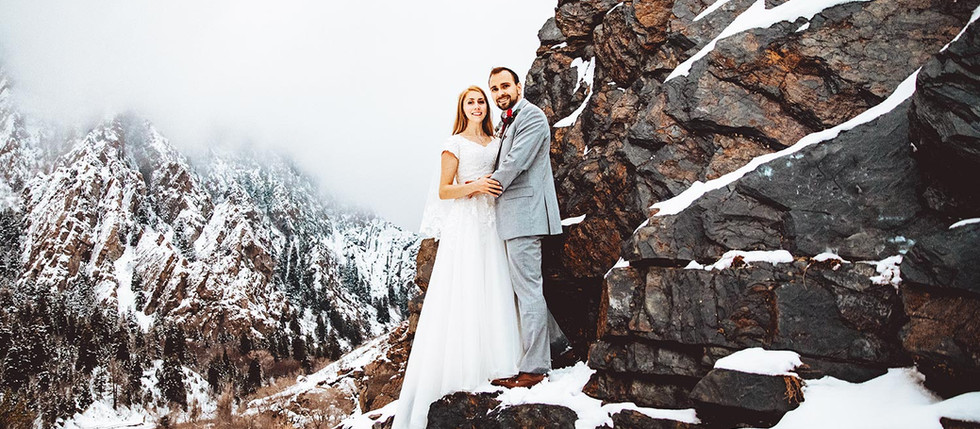 Winter Jordan Pines Campground bride and groom session with Cherie & Dallin