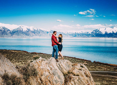 "Spring Utah Lake Engagement ""with sun"""