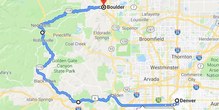 Luxury Motorcycle Colorado Day 2 Map Sma