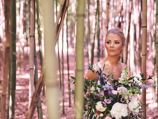 Boho style wedding at Barnsley Resort with suspended Flower Chandeliers