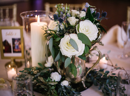 Johns Creek Church Wedding with Dusty Blue & White Flowers