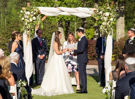 Johns Creek Country Club Jewish Wedding Modern White Flowers, Outdoor Chuppah Ceremony
