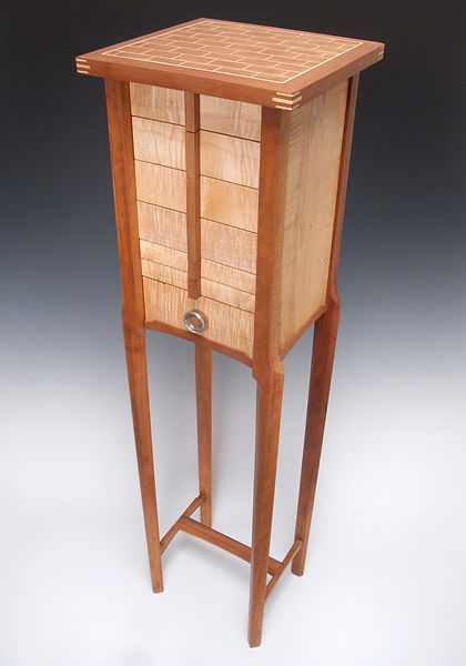 Jewelry armoire 7 drawer cherry, maple and jatoba sterling sliver