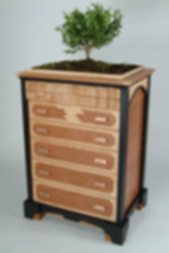 Custome made 5 drawer cherry and maple chest of drawers