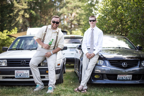 The Groom and his Best Man and thier cars