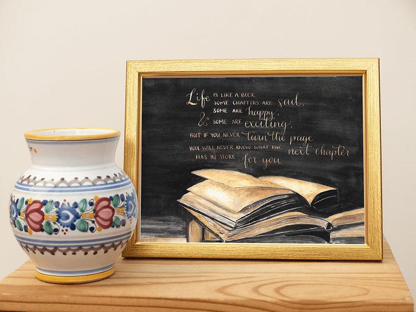 Life is like a book gold frame.jpg