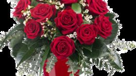 12 Roses in Vase Arragement