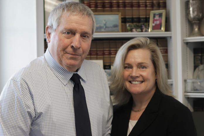 John A. Murphy with daughter Emily J. Murphy Prior at Morneau & Murphy Office, Jamestown Rhode Island