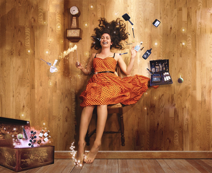 A photo manipulation of a woman/ witch floating in a chair surrounded by floating beauty products