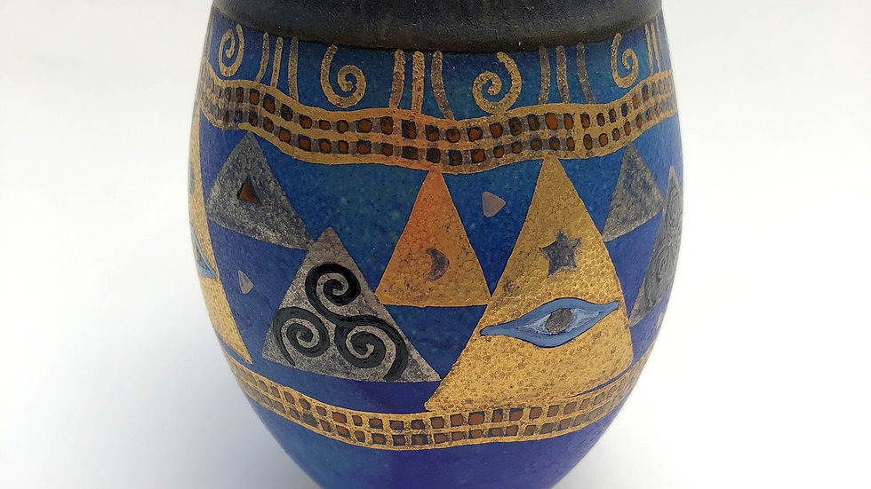 Painted blue vase