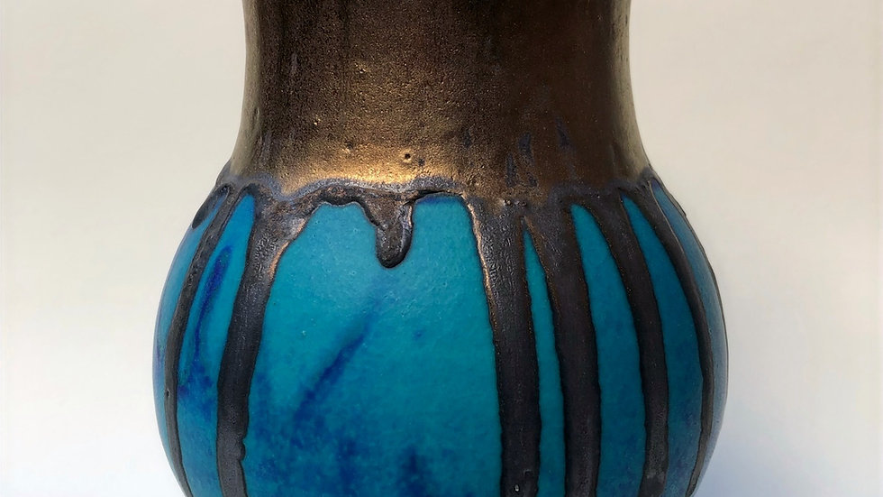 Lapis blue and bronze vase