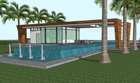 Weston Residence. Perspective of Pool Cabana