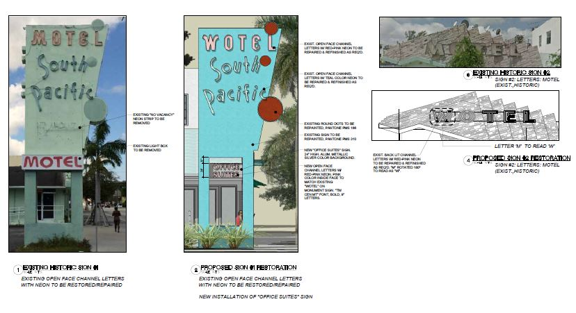 South Pacific. Proposed Sign Restoration
