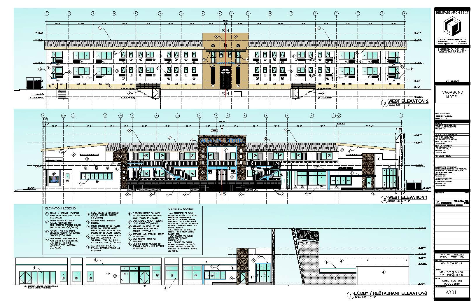 Vagabond Motel. West elevations & lobby-restaurant elevations