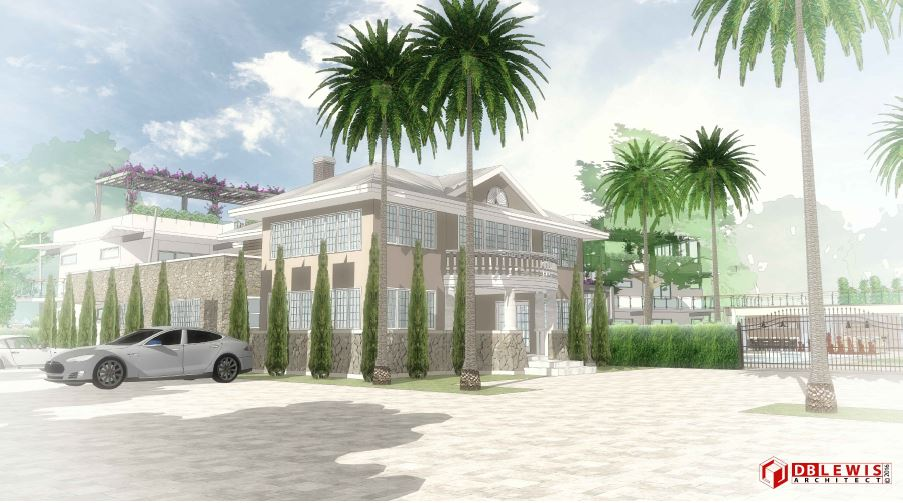 Chateau Bittan. 3D Study of Historic House Entrance
