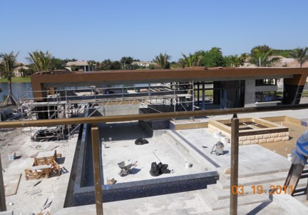 Weston Residence. Pool Cabana construction