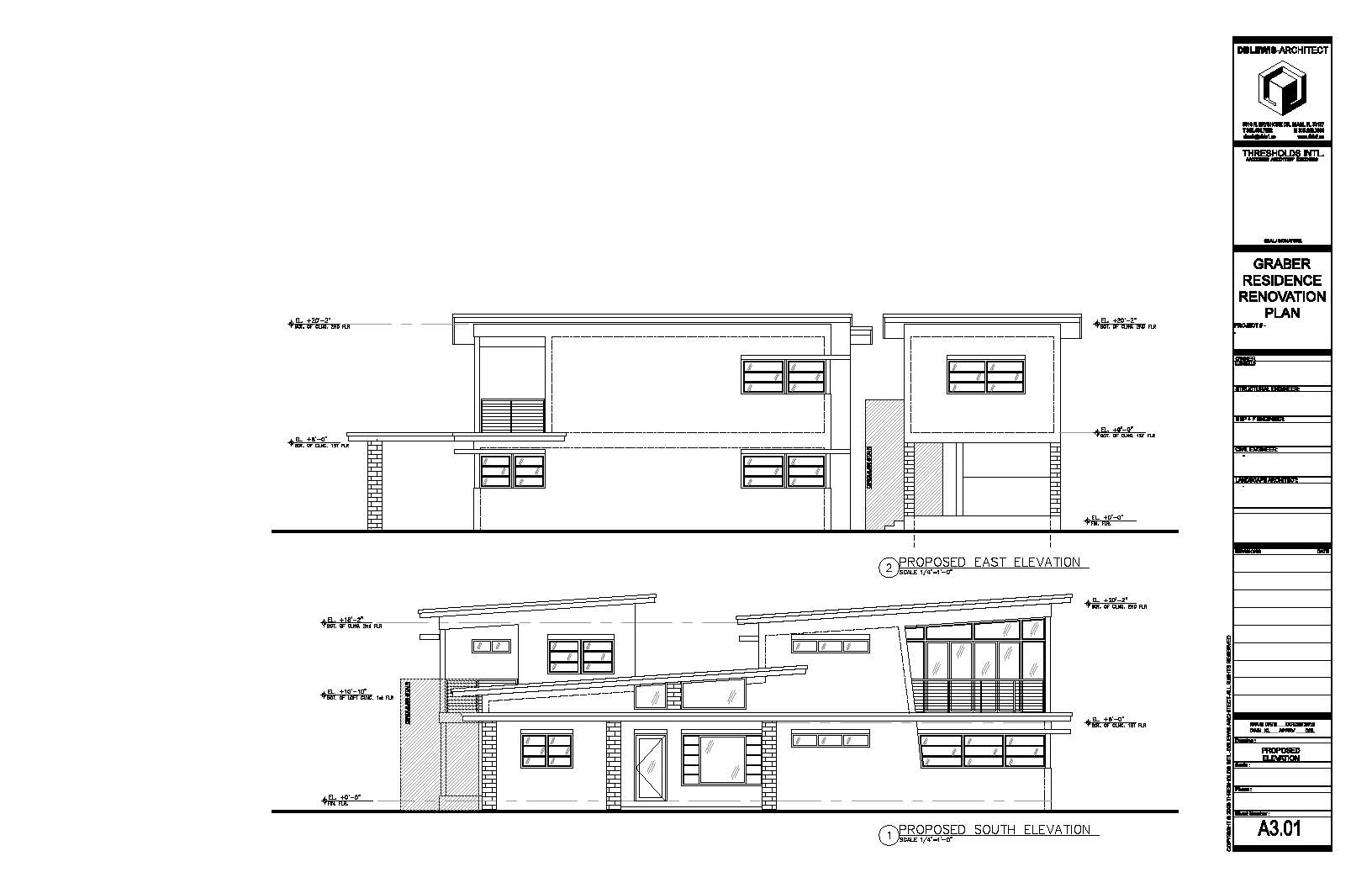 Graber Residence. Proposed East & South elevations