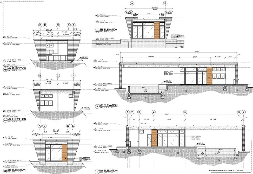 Weston Residence. Pool Cabana Elevations