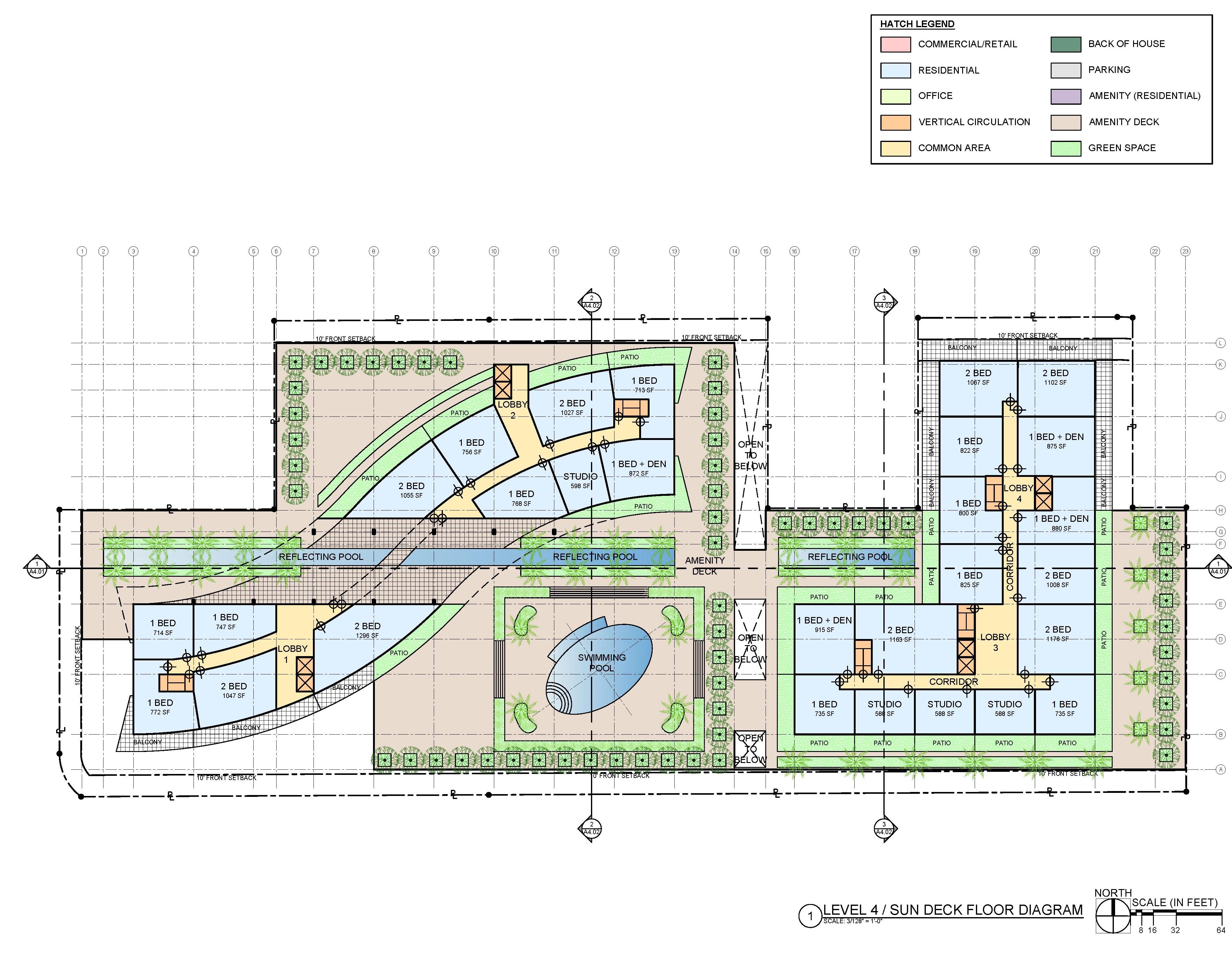 Level 4. Sun deck floor diagram