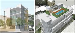New Lofts. 3D Study Views facing Southwest and Axonometric