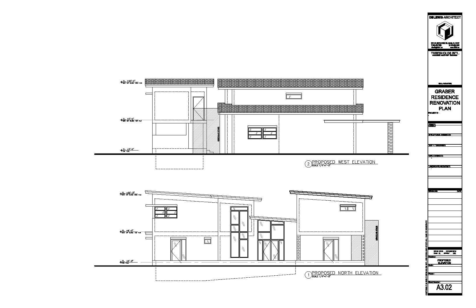 Graber Residence. West & North proposed elevations