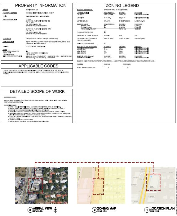Bayside Motel Property information + Zoning Legend