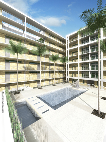 3D Study of Interior Courtyard