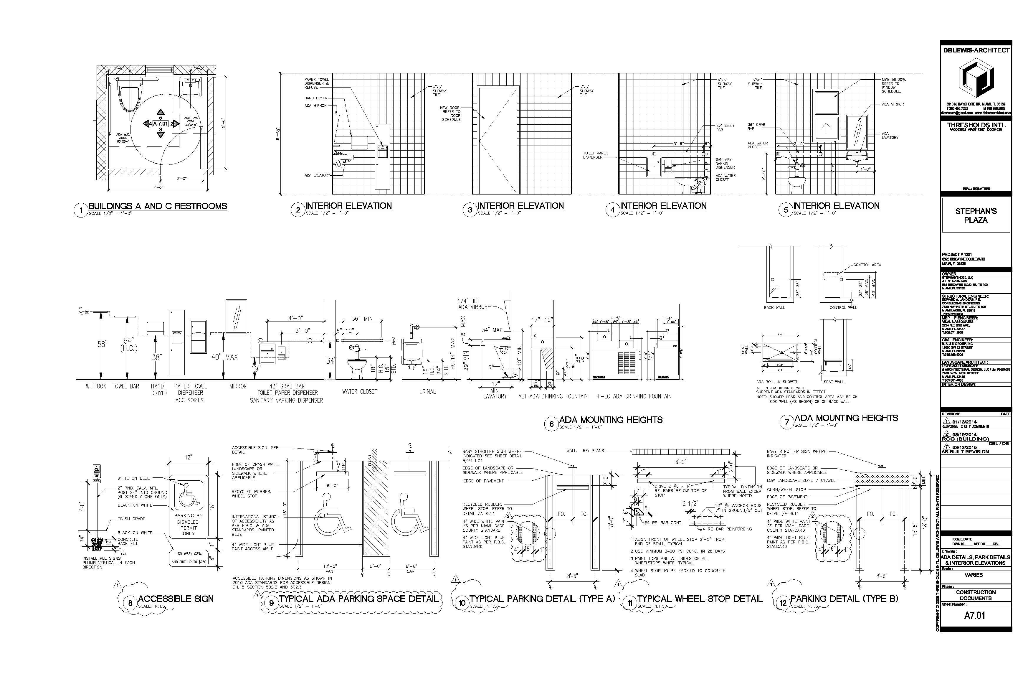ADA details, parking & interior elevations