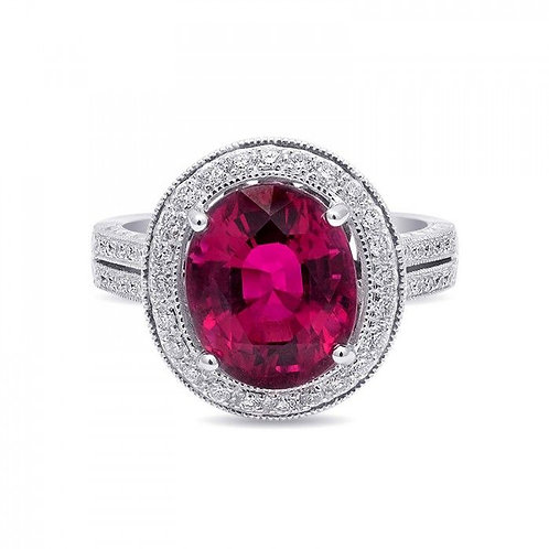 18k White Gold 5.04ct TGW Natural Rubellite Tourmaline  and White Diamond Ring