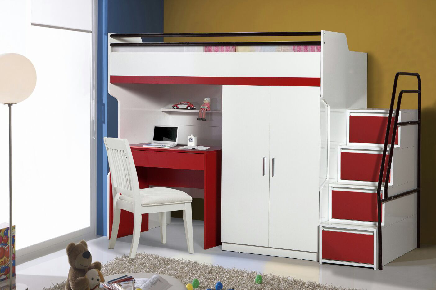 BUENO IN RED WITH DESK AND WARDROBE