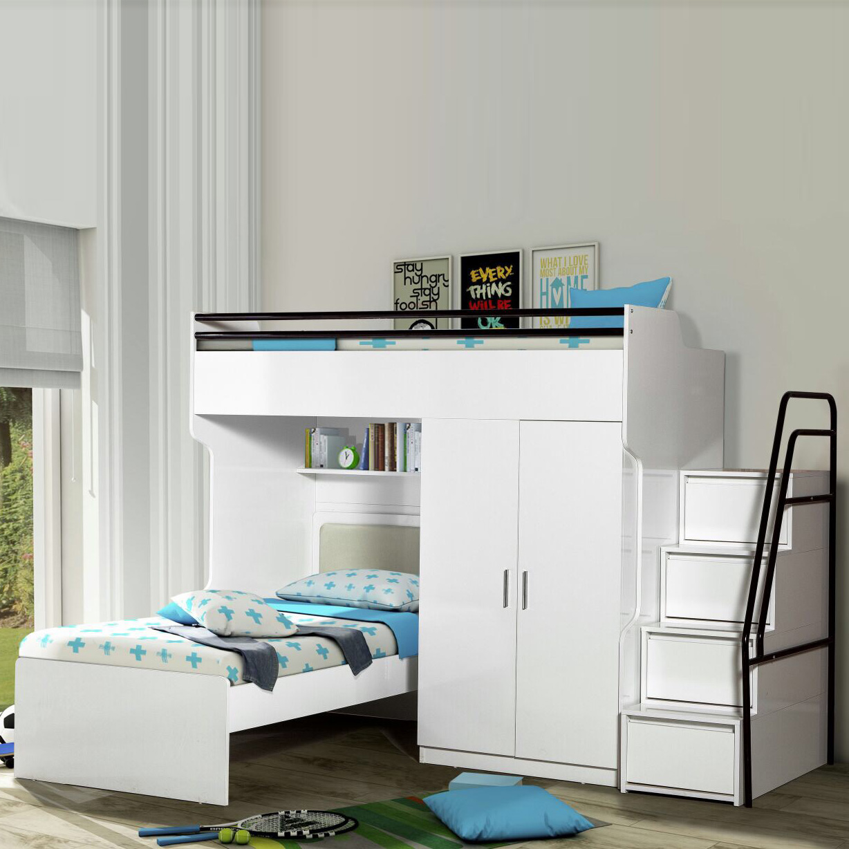 BUENO IN WHITE WITH DESK & WARDROBE
