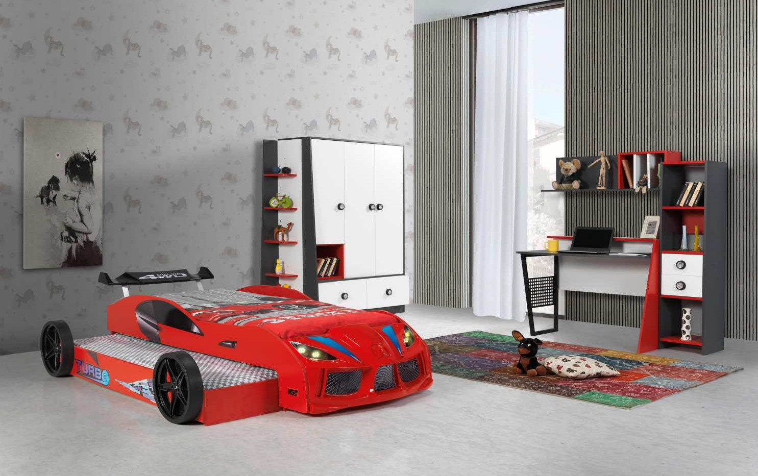 DOUBLE CAR BED RED