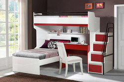 BUENO IN RED WITH BED AND DESK