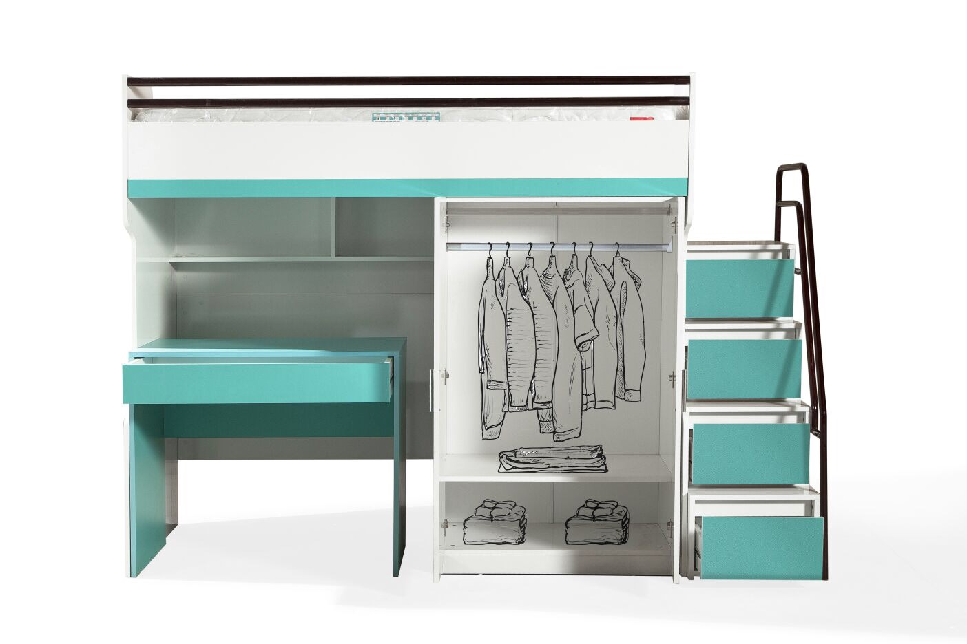 BUENO TURQUOISE WITH DESK&WARDROBE