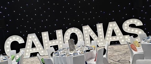 5ft CAHONAS light letters for a charity ball at the Glasgow Marriott, light letter hire Glasgow, letter lights, stunning high quality marquee letters