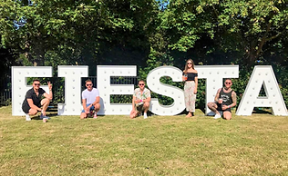 5ft FIESTA light letters setup in Kelgrove Park for the Fiesta Festival 2018. Light letter hire across Scotland. Letter light hire Glasgow & Edinburgh.