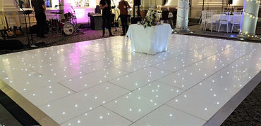 Dancefloor setup for a wedding reception in The George Hotel, Edinburgh, Scotland. White led sparkling floor, dancefloor hire Glasgow, Edinburgh, letter light hire Scotland, light up letters, BigBrightLetters.co.uk, Event Hire Scotland