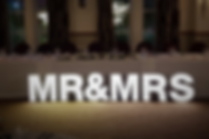 MR&MRS letter lights, Mr & Mrs top table letter lights for hire, love lights, letter light hire Scotland