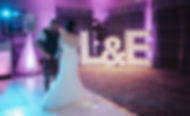 5ft L&E letter lights and white led sprkling dancefloor setup at The Waterside, West Kilbride for a wedding. Letter Lights, LED Dancefloor, Wedding Dance Floor Hire, Photobooth Hire for Weddings, Event Hire Scotland.