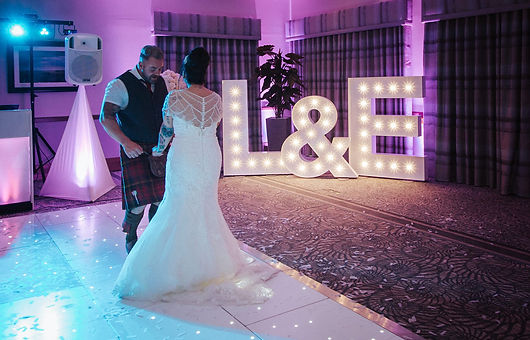 5ft letter lights and led sparkling dancefloor at a wedding at The Waterside, West Kilbride. Light up letters, light letters, led dance floor