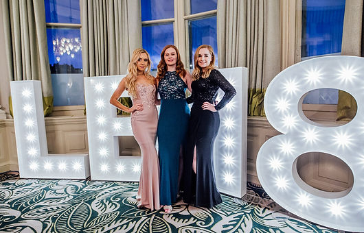 5ft LB18 letter lights setup for the 2018 Law Ball in The Balmoral Hotel, Edinburgh. Grad & Prom letter lights Edinburgh, Prom lights Glasgow, 5ft light up letters, marquee letters for hire across Scotland.