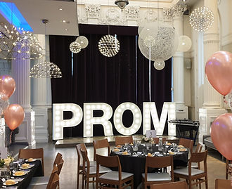 5ft PROM letter lights, prom and graduation light letters. Light up lettes set up fo a school prom in The Corinthian, Glagow