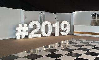 5ft 2019 lights with 4ft # light. Letter lighs to hire Glasgow, Prom light letters, Graduation light letters. Light Letter setup at Mar Hall, Scotland