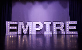 5ft EMPIRE letter lights setup for a dance show at Airdrie Town Hall, Glasgow, Scotland. Light up letters for shows, events, weddings, theatres and danceshows. Danceshow Letter Lights.