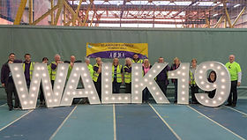 5ft WALK 19 letter lights setup for a charity night walk in Glasgow. Light Letters for events and charities across Scotland.