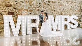 5ft MR & MRS letter lights setup in Kinkell Byre, St Andrews. High quality wedding letter lights hire across Scotland