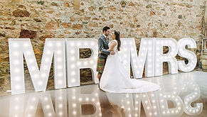 5ft MR & MRS letter lights setup in Kinkell Byre, St Andrews. High quality wedding letter lights hire across Scotland